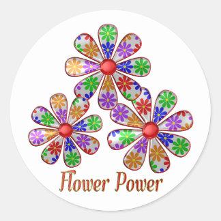 Adesivo Redondo Divertimento flower power