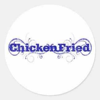 "Adesivo Redondo Divertimento & ""galinha lunática fritados """