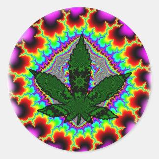 Adesivo Redondo Divertimento louco Rasta da erva daninha do fumo