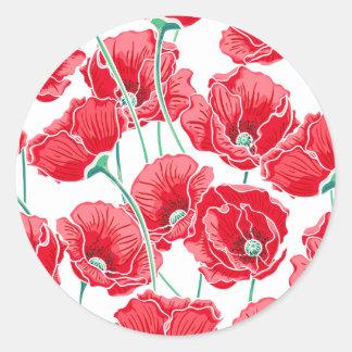 Adesivo Redondo Do campo vermelho da papoila da relembrança teste