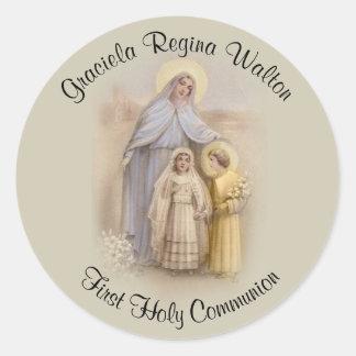 Adesivo Redondo Do costume relembrança do católico do comunhão