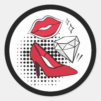 Adesivo Redondo Do diamante vermelho dos saltos altos do beijo do