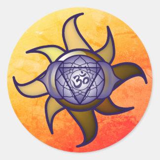 """Adesivo Redondo Do """"etiqueta de Lotus da introspecção da ioga"""
