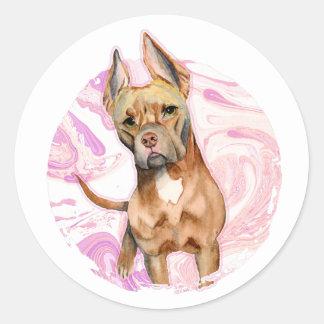 """Adesivo Redondo Do """"orelhas coelho"""" pintura da aguarela do cão de"""