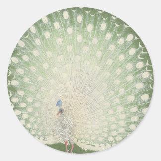 Adesivo Redondo Do pavão japonês das belas artes | do vintage