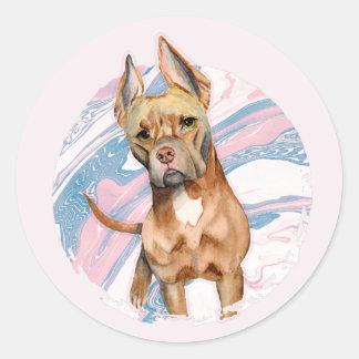 """Adesivo Redondo Do """"pintura da aguarela do cão do pitbull das"""