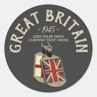 Adesivo Redondo Dog tags do inglês de Grâ Bretanha