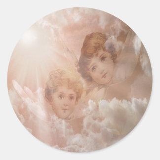 Adesivo Redondo Dois anjos adoráveis