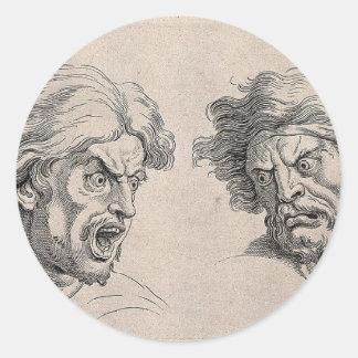 Adesivo Redondo Dois desenhos das caras irritadas