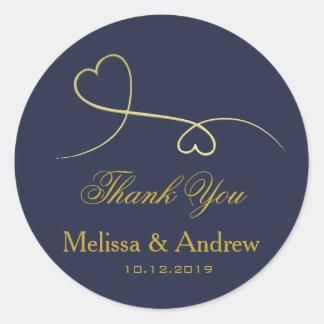 Adesivo Redondo Dois obrigado Wedding elegante You dos corações  