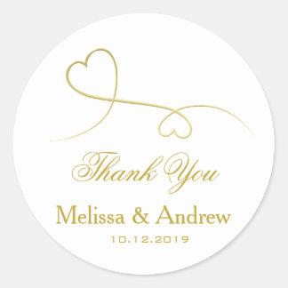 Adesivo Redondo Dois obrigado Wedding elegante You dos corações |