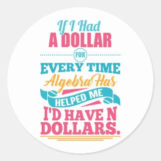 Adesivo Redondo Dólares Sticke da chalaça N da equação da álgebra