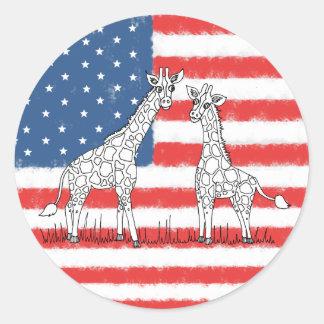 Adesivo Redondo Doodle da conservação do girafa da bandeira