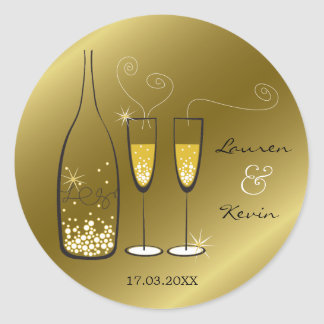 Adesivo Redondo Dos elogios borbulhantes de Champagne do ouro