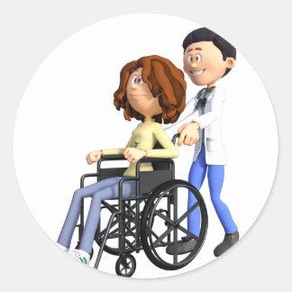 Adesivo Redondo Doutor Wheeling Paciente Cadeira de rodas dos