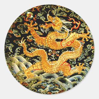Adesivo Redondo Dragão dourado bordado do zodíaco antiguidade