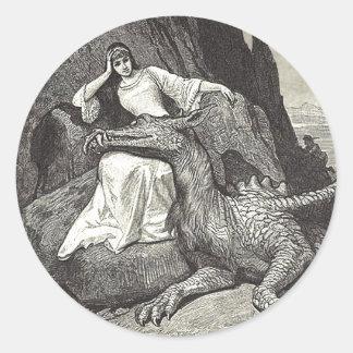 Adesivo Redondo Dragão e donzela do animal de estimação