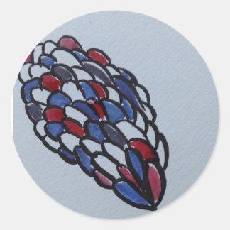 Adesivo Redondo Draw blue red