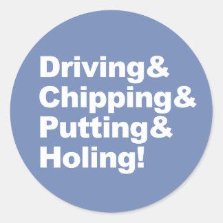 Adesivo Redondo Driving&Chipping&Putting&Holing (branco)