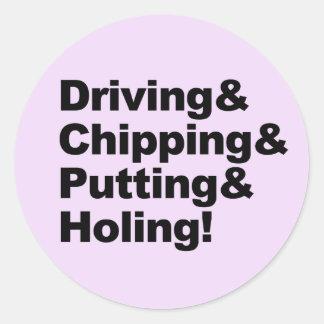Adesivo Redondo Driving&Chipping&Putting&Holing (preto)