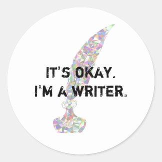 Adesivo Redondo É aprovado. Eu sou um escritor