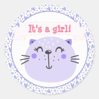 Adesivo Redondo É um chá de fraldas roxo bonito do gato   da