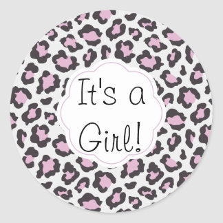 Adesivo Redondo É um impressão do leopardo da menina
