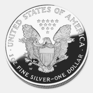 Adesivo Redondo Eagle de prata americano 1 dólar