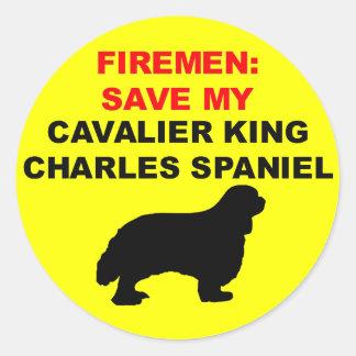 Adesivo Redondo Economias do bombeiro meu Spaniel de rei Charles