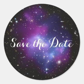 Adesivo Redondo Economias roxas do conjunto da galáxia a data