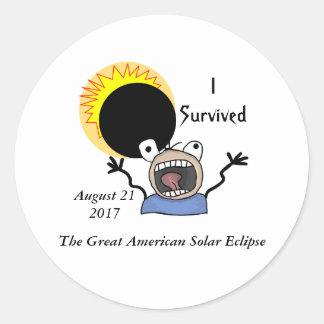 Adesivo Redondo Edição da sobrevivência do eclipse 2017 solar
