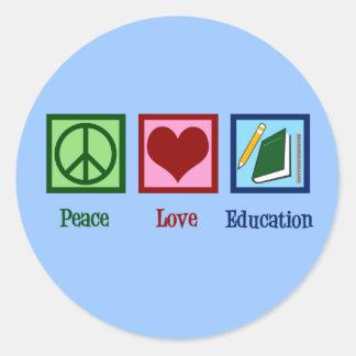 Adesivo Redondo Educação do amor da paz