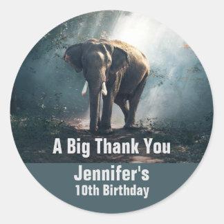 Adesivo Redondo Elefante asiático em um aniversário Sunlit da