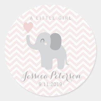 Adesivo Redondo Elefante da menina do anúncio do nascimento da