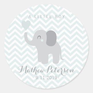 Adesivo Redondo Elefante recém-nascido Chevron do menino do