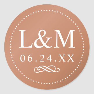 Adesivo Redondo Elegância clássica de cobre do monograma | do