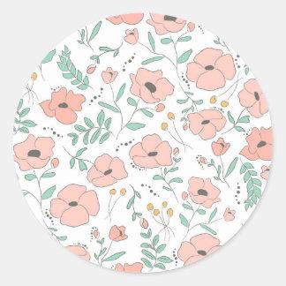 Adesivo Redondo Elegant seamless pattern with flowers, vector illu