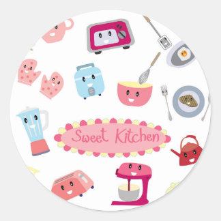 Adesivo Redondo Eletricidade cor-de-rosa doce da cozinha e ícone