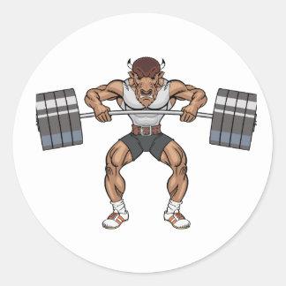 Adesivo Redondo elevador de peso do bisonte