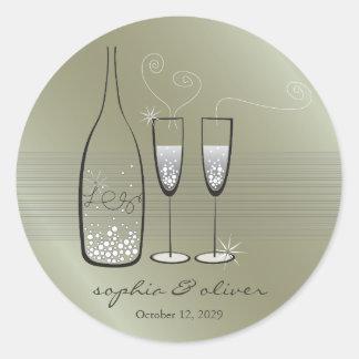 Adesivo Redondo Elogios borbulhantes de prata de Champagne que