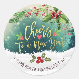Adesivo Redondo Elogios chiques do Feliz Natal a um cumprimento do