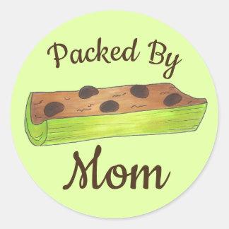 Adesivo Redondo Embalado por formigas do almoço escolar da mamã em