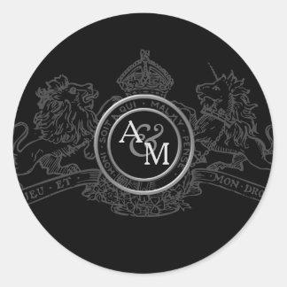 Adesivo Redondo Emblema cinzento branco preto do casamento da