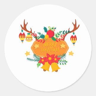 Adesivo Redondo Emblema com mensagem do Feliz Natal