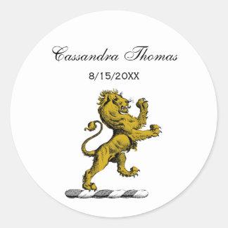 Adesivo Redondo Emblema ereto C da crista do leão heráldico