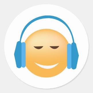 Adesivo Redondo Emoji com fones de ouvido