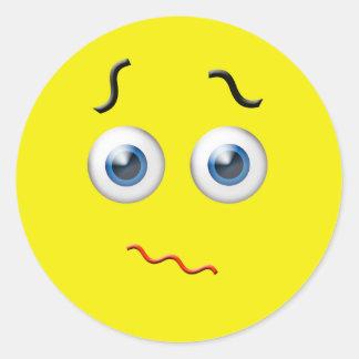 Adesivo Redondo Emoji confuso