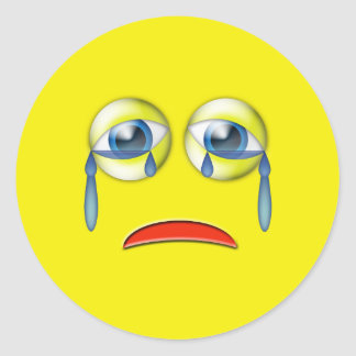 Adesivo Redondo Emoji de grito triste