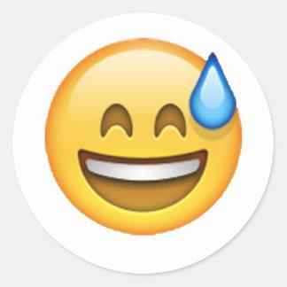 Adesivo Redondo Emoji - suor frio