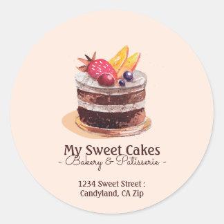 Adesivo Redondo Empacotamento do cupcake do patisserie do bolo da